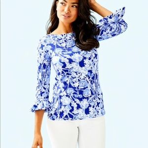 Lilly Pulitzer Waverly Ruffle Top Pretty Peas